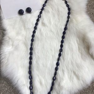 Navy blue beaded necklace w/ round earrings